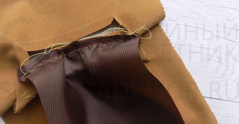 Приметайте деталь листочки к нижнему краю кармана
