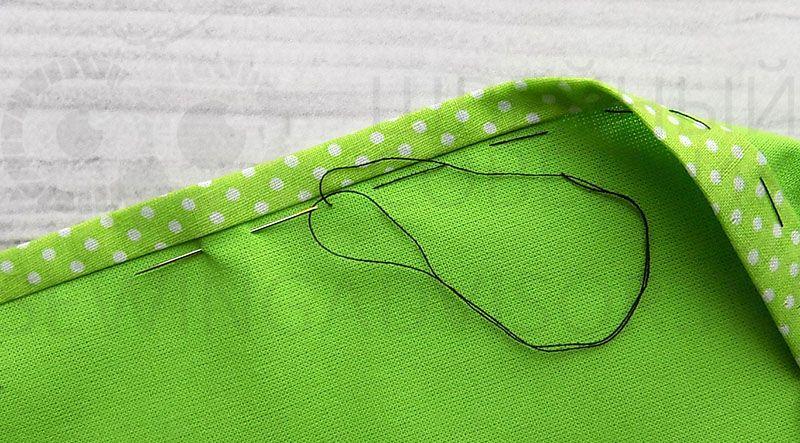 Приметать бейку к основной ткани
