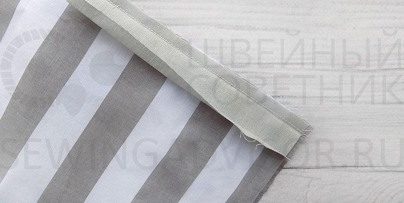 Сострочить ткань и бейку на 5 мм