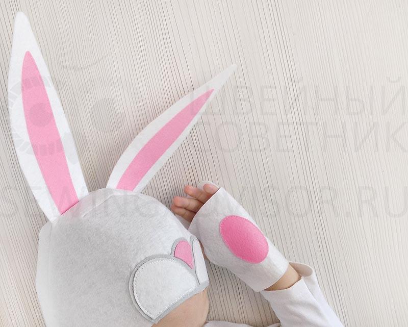 Карнавальный костюм зайчика с ушками и хвостом