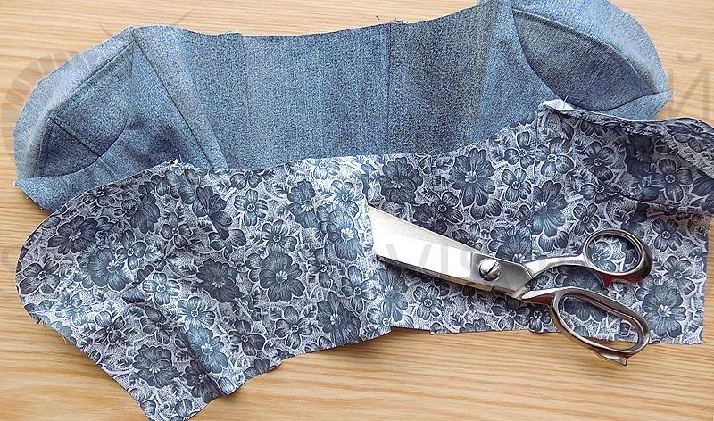 Застрочите средний шов спинки из подкладочной ткани